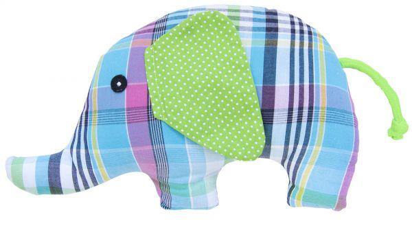 Rassel Elefant blaukariert mit grünen Ohren