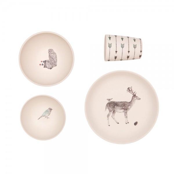 """Geschirr Set """"Tiere des Waldes"""" aus Bambus"""