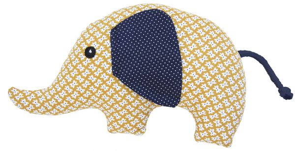Rassel Elefant weißes Muster auf Gelb