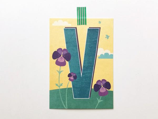 Postkarte Buchstabe V