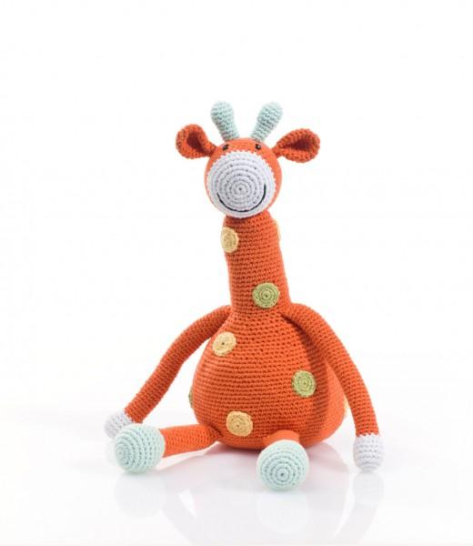 Große Giraffe, orange gehäkelt von pebble