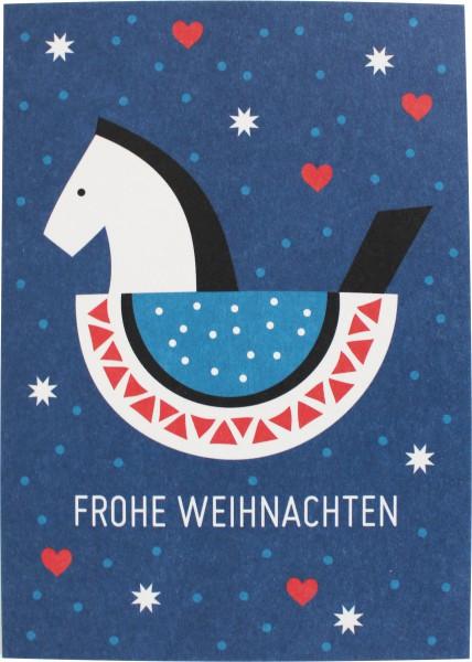 Postkarte Schaukelpferd blau rot