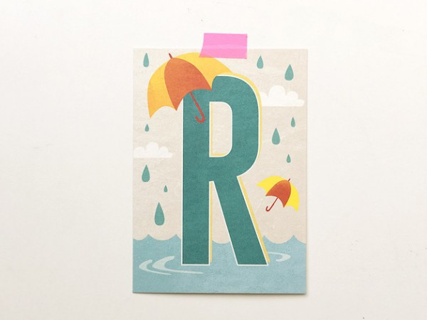 Postkarte Buchstabe R
