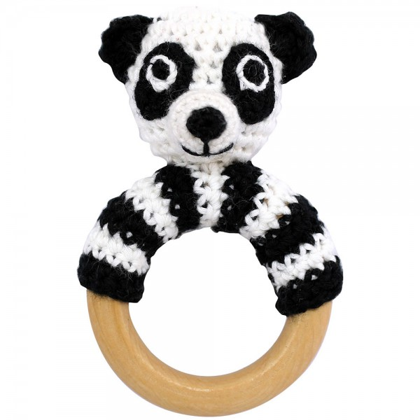 Panda Rassel schwarz weiß am Greifring aus Holz