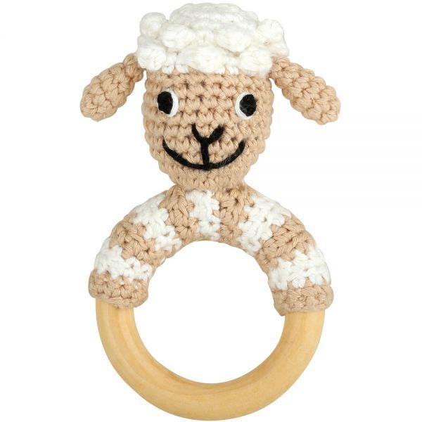 Schaf Rassel am Greifring aus Holz