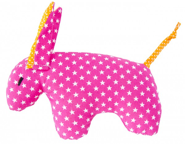 Rassel Esel pink mit weißen Sternen