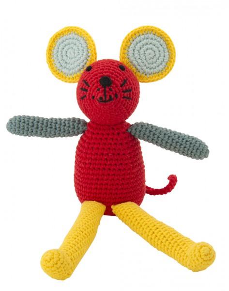 Maus Rassel rot mit grünen Ohren