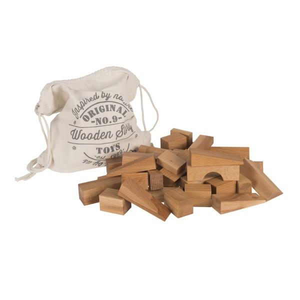 Natur Bauklötze 100 Stück im Baumwollsack von Wooden Story