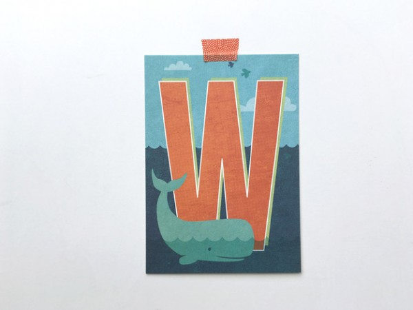 Postkarte Buchstabe W