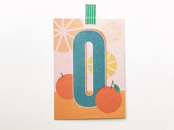 Postkarte Buchstabe O