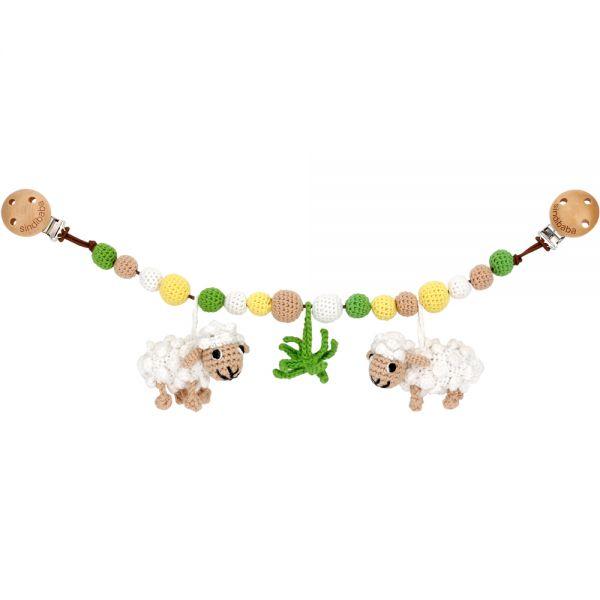 Kinderwagenkette mit 2 Schafen und Gras