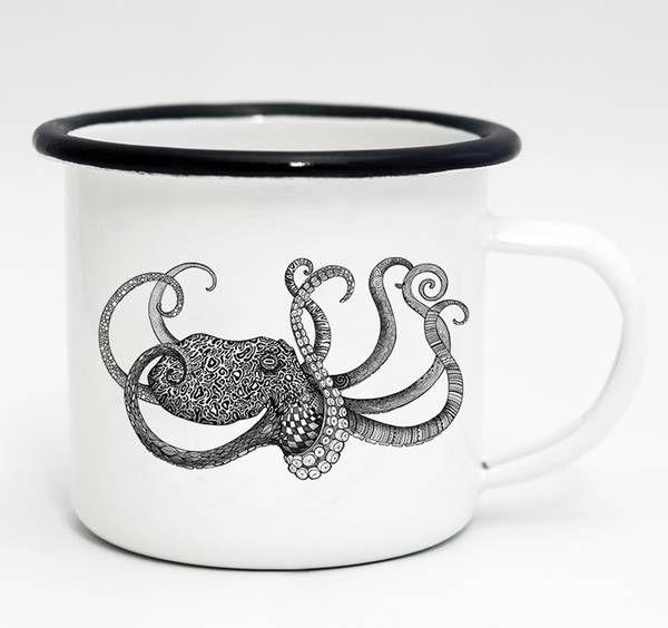 Tasse Emaille Oktopus von Ligarti