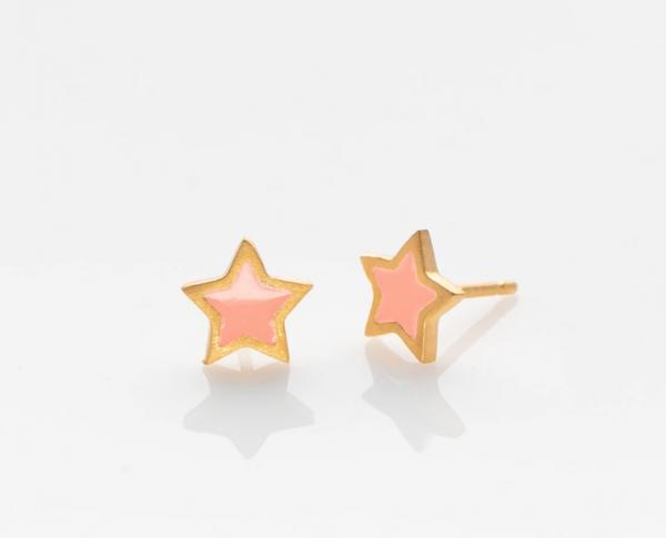 Stern Ohrringe golden/ rosa von Prigipo