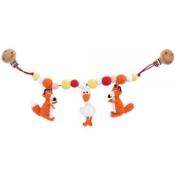 Sindibaba Kinderwagenkette mit Rassel gehäkelt Füchse orange