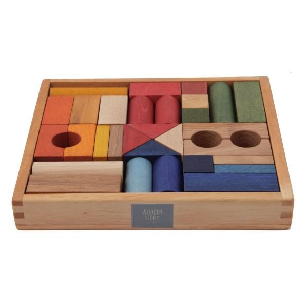 30 Regenbogen Bauklötze in edler Holzbox