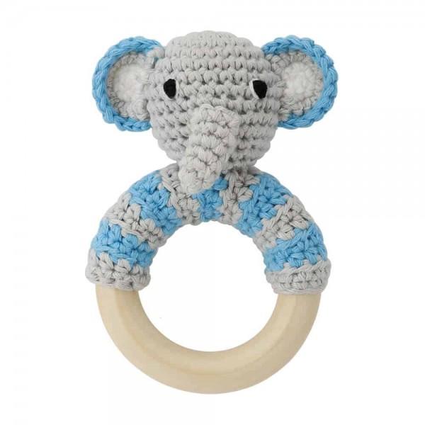 Sindibaba Rassselring Elefant grau blau