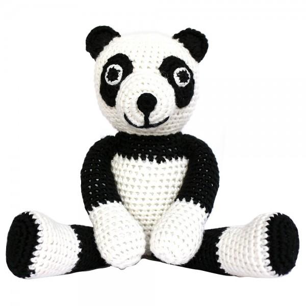 Sindibaba Stofftier mit Rassel Panda weiß schwarz