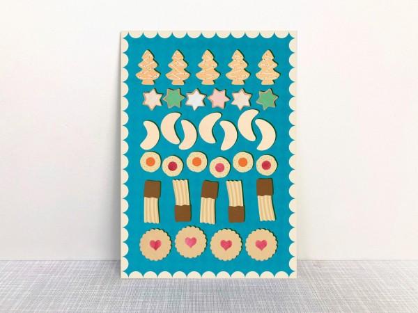 Weihnachtskarte Plätzchen von Monimari