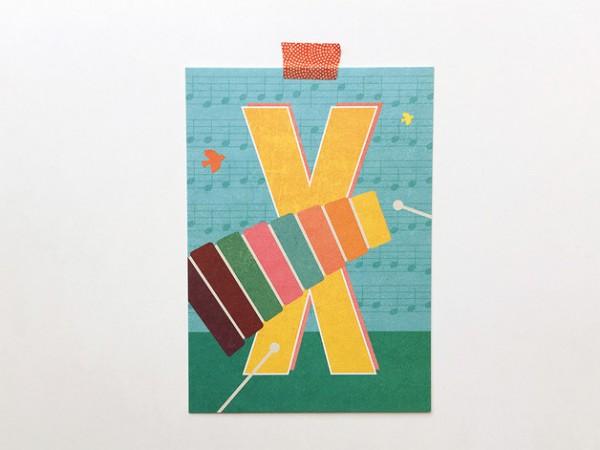 Postkarte Buchstabe X von Monimari