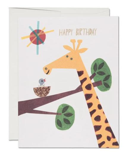 Klappkarte Giraffe Happy Birthday Red Cap Cards