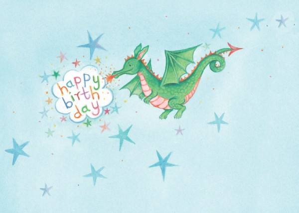 "Postkarte ""Happy Birthday kleiner Drache"" von Captain Card"