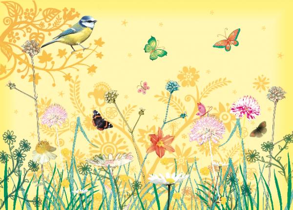 """Postkarte """"Blumenwiese mit Blaumeise"""" von Captain Card"""