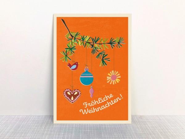 Weihnachtskarte Tannenzweig orange von Monimari