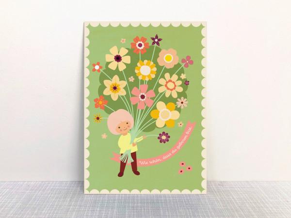 Postkarte Blumenstrauß grün von Monimari