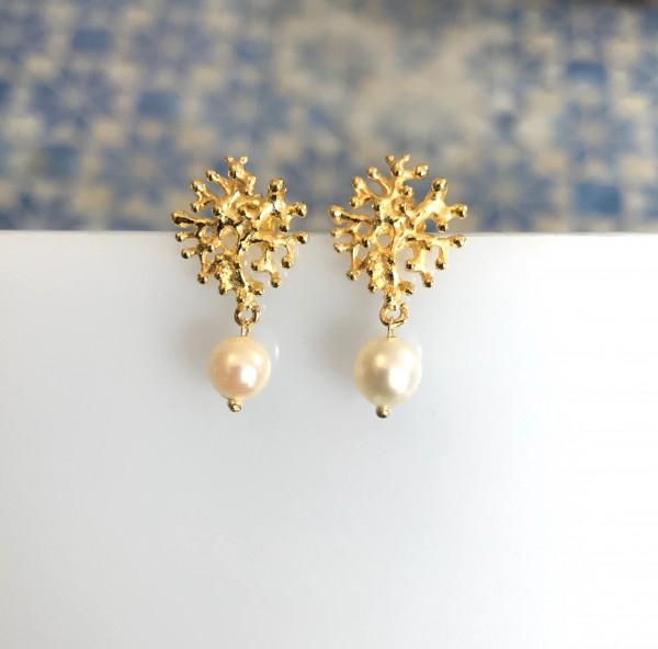 """Ohrringe mit Perle und """"Koralle"""" Gold von Goldkind"""