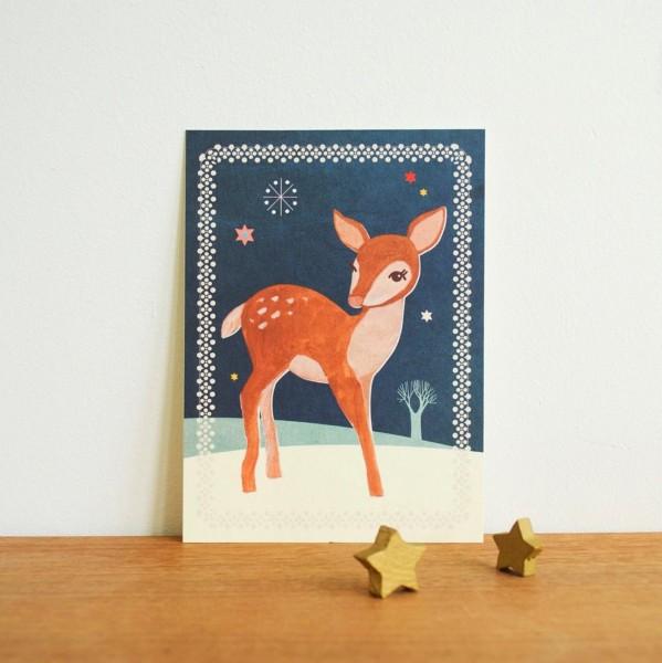 Weihnachtskarte Reh von Monimari