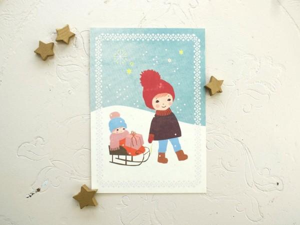 Weihnachtskarte Schlitten Kind von Monimari