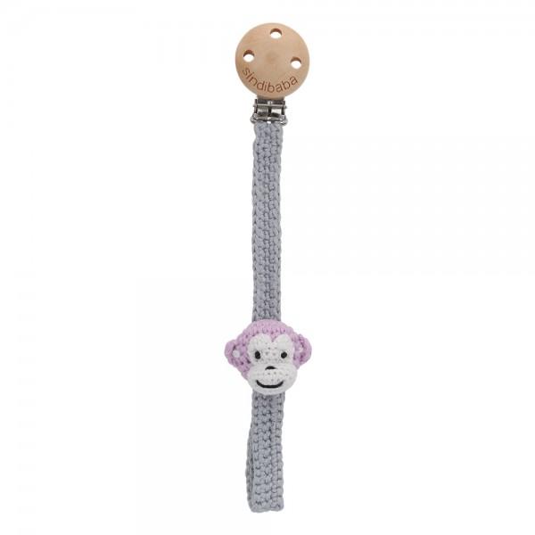 Gehäkelter Schnullerhalter mit Affe grau-rosa