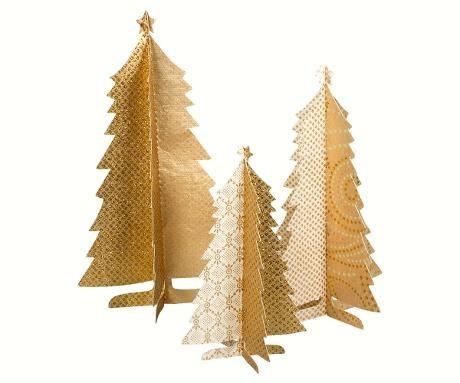 3 Papier Weihnachtsbäume Gold