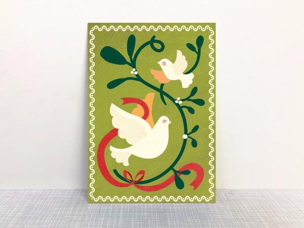 Weihnachtskarte Friedenstaube grün von Monimari