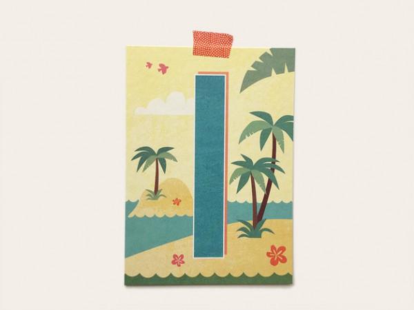 Postkarte Buchstabe I von Monimari