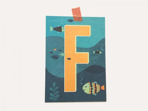 Postkarte Buchstabe F von Monimari