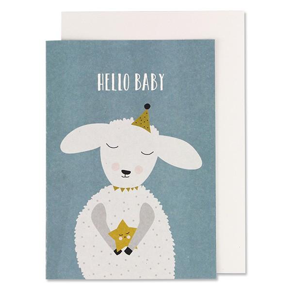 """Klappkarte zur Geburt Schaf blau """"Hello Baby"""" von Ava & Yves"""