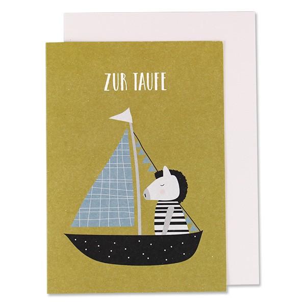 Klappkarte zu Taufe Schiff mit Zebra