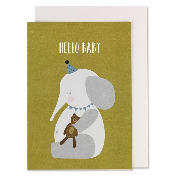 """Klappkarte zur Geburt Elefant """"Hello Baby"""" von Ava & Yves"""
