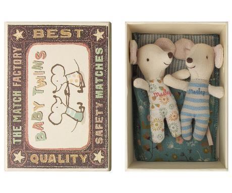 "Maileg Baby Mäuse ""Zwillinge"" im Bett, Baby mice twins in box"