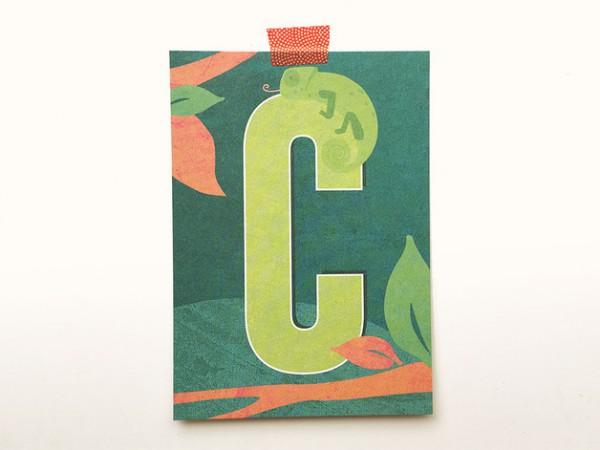 Postkarte Buchstabe C