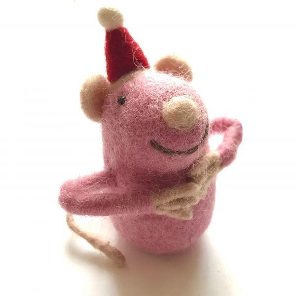 Weihnachts Filzmaus rosa für Geld oder Gutscheine