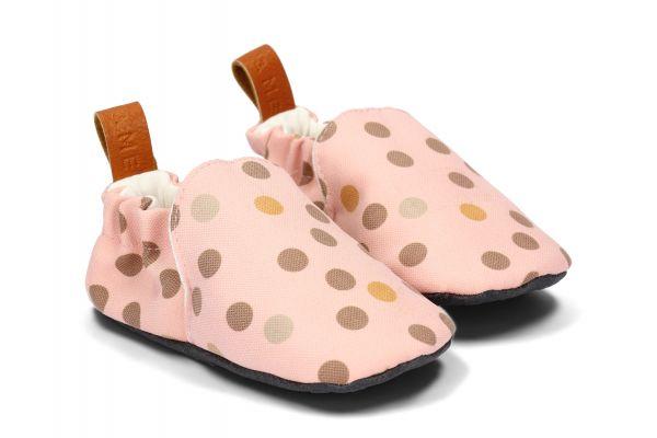 Slippers Krabbelschuhe 20/21 dots on pink von Loui & Me