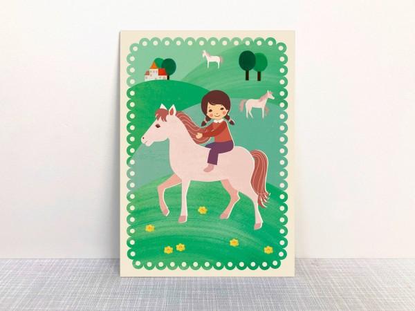 """""""Ausritt im Grünen""""Postkarte aus Recyclingpapier mit Ökofarbe von Monimari"""