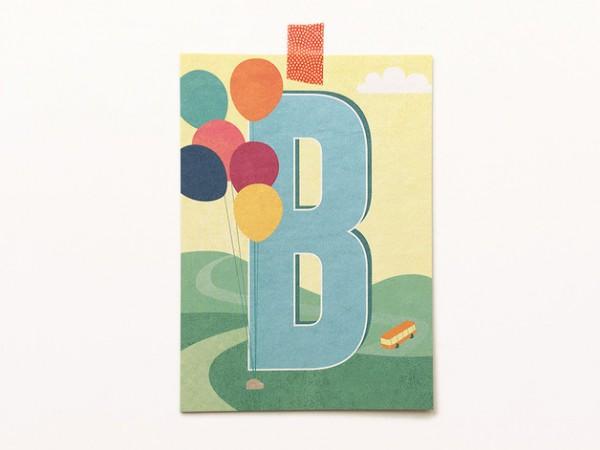Postkarte Buchstabe B