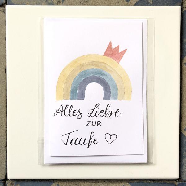 Klappkarte Alles Liebe zur Taufe Regenbogen mit Krone smilla cards