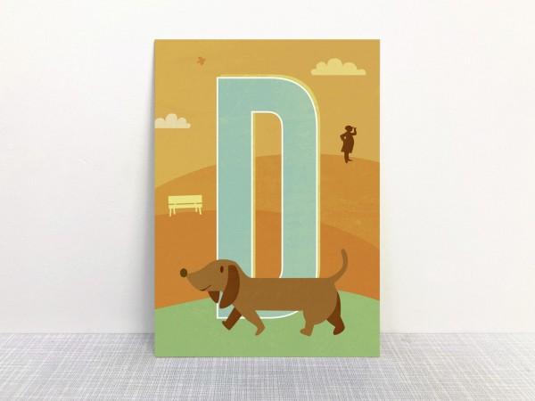 Postkarte Buchstabe D wie Dackel von Monimari