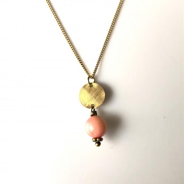 Kette Nr. 42 mit Kugel rosa weiß und Gold von Goldkind