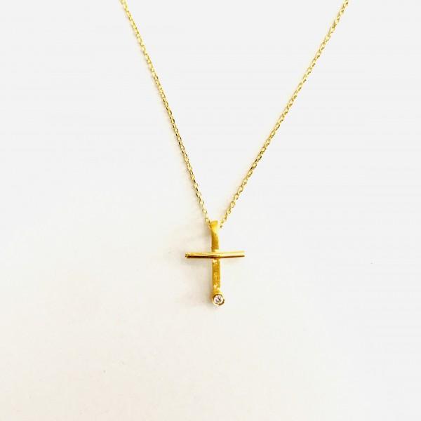 """Zarte Kette """"Kreuz mit Brillant"""" in Gelbgold von Krinaki"""