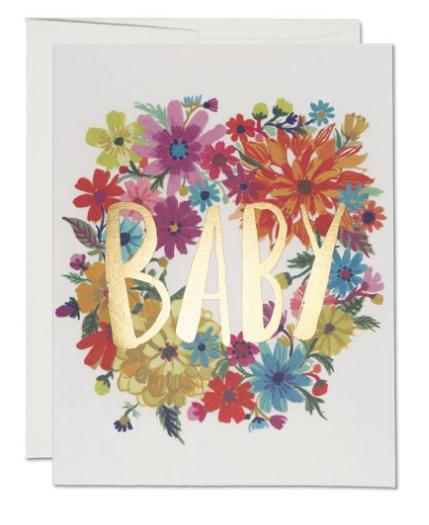 """Klappkarte """"BABY Gold Blumen"""" von RIFLE PAPER"""